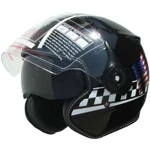 Motorcycle Helmet Dual Visor open face DOT 352 American Flag