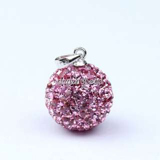 AUTHENTIC SILVER PINK SWAROVSKI CRYSTAL PENDANT 14MM