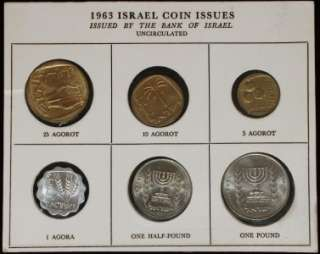 Rare 1963 Uncirculated Coin Set Issued Bank of Israel