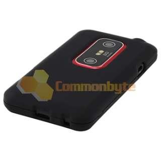 LCD Accessory+Black Hybrid Hard Skin Cover for HTC EVO 3D