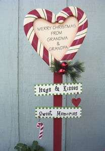 GRANDMA & GRANDPA Hugs & Kisses Christmas Yard Decor