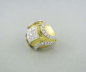 ESTATE DAVID WEBB 18K GOLD PLATINUM DIAMOND DOME RING