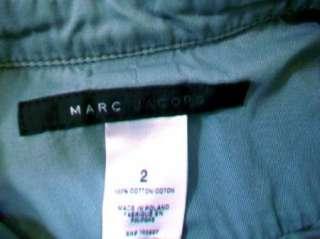 MARC JACOBS Womens Gray Blue Button Up Military Short Sleeve Shirt sz
