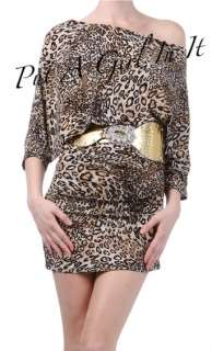 SIZE OFF SHOULDER KIMONO LEOPARD ANIMAL PRINT DRESS CLUB CHEETAH DANCE