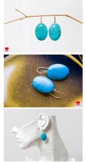 Solid 14k yellow / Sleeping Beauty Turquoise Drop Earrings   OAS