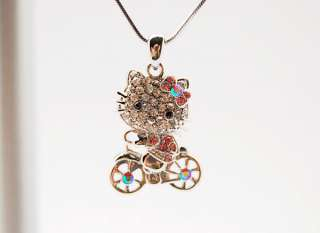 NEW! Hello Kitty a bicycle swarovski necklace pendant ~