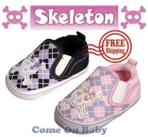 New Infant Girls Toddler Baby Skeleton Shoes 12 18m US4