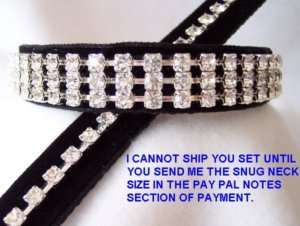Black Velvet Rhinestone Leash & Dog Collar Set ~#128