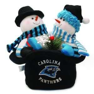 NFL Carolina Panthers Plush Snowmen Top Hat Christmas Table Decoration