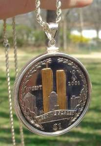 BNIB VIRGIN ISLANDS/TWIN TOWERS STERLING COIN NECKLACE!