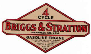 Briggs & Stratton Gas Engine Motor Decal Hit & Miss Engine 2 inch Bore