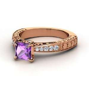 Megan Ring, Princess Amethyst 14K Rose Gold Ring with