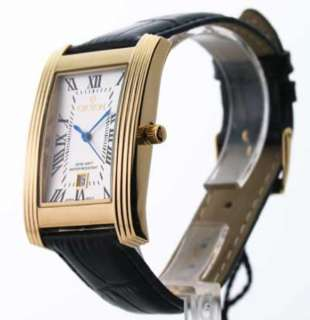 Black Leather Strap Rose Gold Tone or Yellow Gold Tone Dial Date Watch