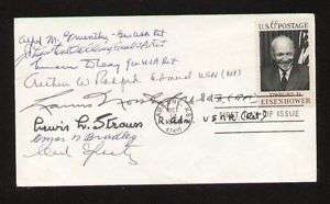 First Day Cover signed autographed by 8 WWII Generals