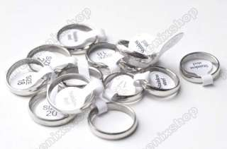 50X 4mm wide Silver tone Polish stainless steel Rings new Gift