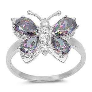 Sterling Silver Women Mystic Butterfly Ring Size 8CZ