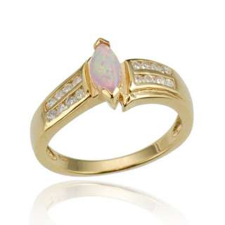 Cut Pink Opal Simulated Gold Plated 925 Sterling Silver Womens Ring