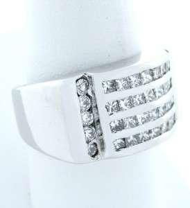 MENS 14K WHITE GOLD 2ct DIAMOND HEAVY SOLID RING