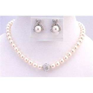 Customize Ivory Pearls Bridal Jewelry Set 8mm Pearls w/ Stud Earrings