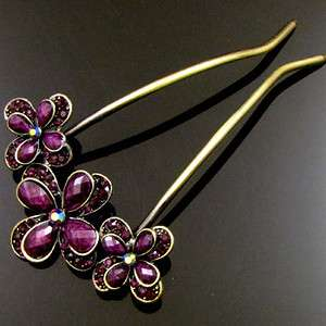 SHIPPING 1pc AUSTRIAN rhinestone crystal flower hair fork Gift