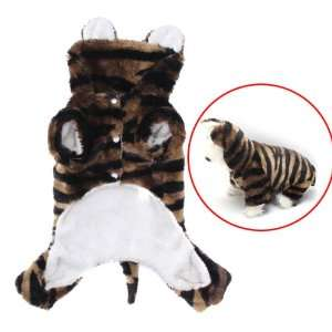 Pet Dog Tiger Print Costume Hoodie Autumn Winter Coat
