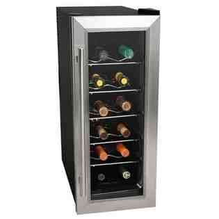 12 Bottle Stainless Steel Slim Fit Thermoelectric Wine Cooler