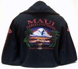 MAUI HARLEY DAVIDSON XL WORN OUT EAGLE BLACK JACKET