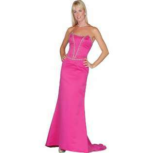 Fuschia Prom Dress. Strapless Satin Evening Gown for Party, Wedding