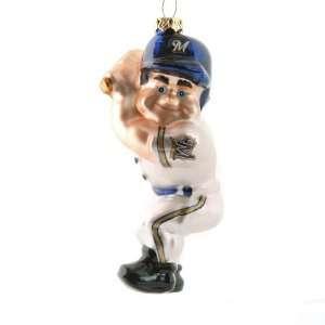 BSS   Milwaukee Brewers MLB Blown Glass Batter Ornament (4