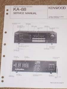 Kenwood KA 88 Amplifier Service Manual Parts List