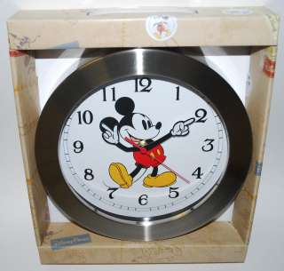 Disney Parks Mickey Mouse Wall Kitchen Chrome Clock NEW