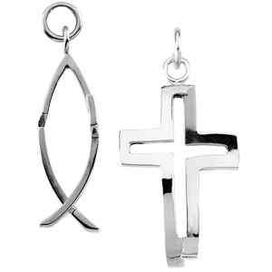 Sterling Silver Cross Fish Pendant Charm NEW Large Size