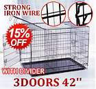 Doors 42 Large Folding Pet Dog Crate Cage Kennel with Divider New