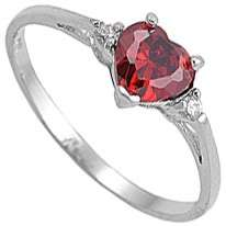 Heart Shaped 3 Stone Clear & Red Garnet CZ Band Ring Size 8