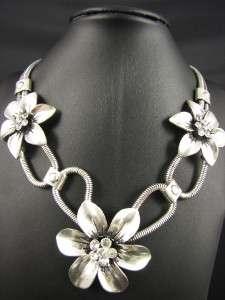 Tibet Style Tibetan Silver Flower Pendant Necklace Chains MS432