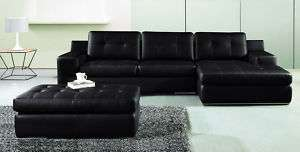Modern black leather sofa sectional & chaise w/ ottoman