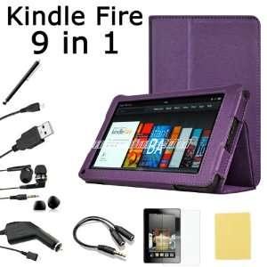 Pandamimi For  Kindle Fire Accessories   PU Purple Leather Case