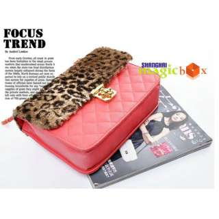 Women Leopard Print Diamond Check Vintage Bag Handbag