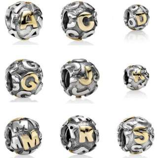 Sterling Silver European Bead INITIAL LETTER CHARM A C D G J K M R S T