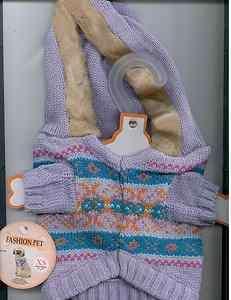 Dog Sweater   Lilac Winter Lodge  Size XSmall fits 8 by Fashion Pet
