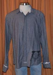 English Laundry LONG SLEEVE GRAY BLACK 100% COTTON MODERN SHIRT MENS