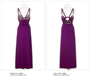 Women Low Cut Halter Sleeveless Solids Beading Formal Gown Full length