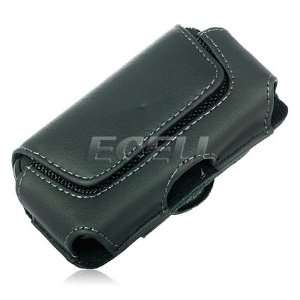 Ecell   BLACK LEATHER POUCH CASE & BELT CLIP FOR SAMSUNG