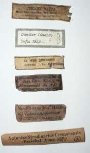 LOT OF SIX RARE OLD AND INTERESTING VIOLIN LABELS