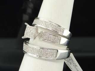 MENS LADIES 10K WHITE GOLD DIAMOND ENGAGEMENT RING PAVE WEDDING BAND