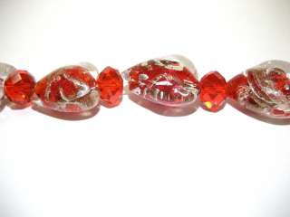 , 18mm Red Silver Foil Heart Bead + 8mm Crystal Glass Bead New
