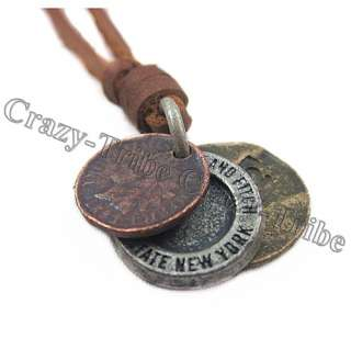 charm choker 3 Coin pendant Genuine leather necklace ancientry COOL