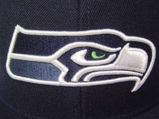 Navy Seattle Seahawks 3D Logo Flat bill Fitted NFL Cap
