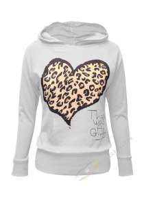 WOMENS LADIES GIRLS LEOPARD PRINT LOVE HEART HOODED JUMPER HOODIE TOP