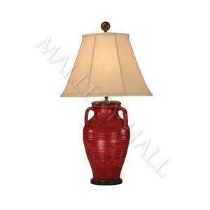 Italian Handle Urn Red Gold Pottery Table Lamp Shade